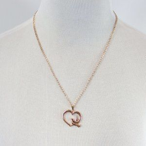Jewelry - Rose Gold Color Heart & Bird Pendant Necklace